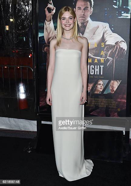 Actress Elle Fanning arrives at the Premiere of 'Live By Night' at TCL Chinese Theatre on January 9 2017 in Hollywood California