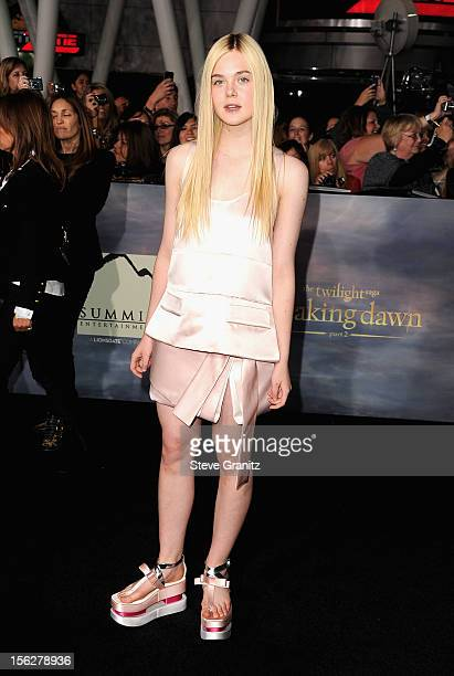 Actress Elle Fanning arrives at The Twilight Saga Breaking Dawn Part 2 Los Angeles premiere at Nokia Theatre LA Live on November 12 2012 in Los...
