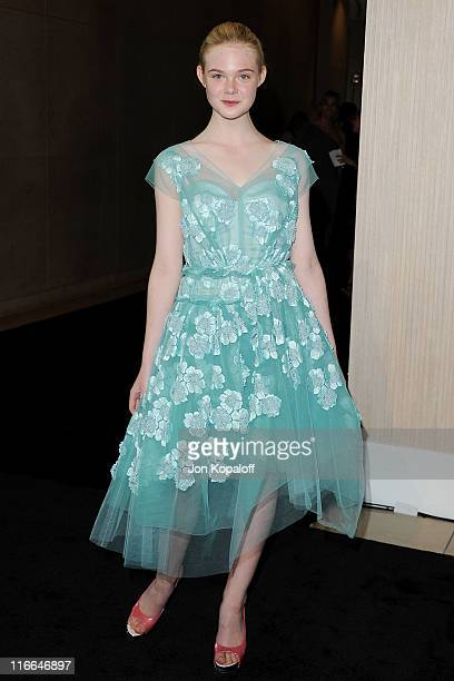 Actress Elle Fanning arrives at the Women In Film's 2011 Crystal Lucy Awards at The Beverly Hilton hotel on June 16 2011 in Beverly Hills California