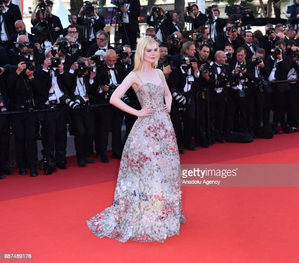 US actress Elle Fanning arrives for the 70th Anniversary Ceremony of Cannes Film Festival in Cannes France on May 23 2017