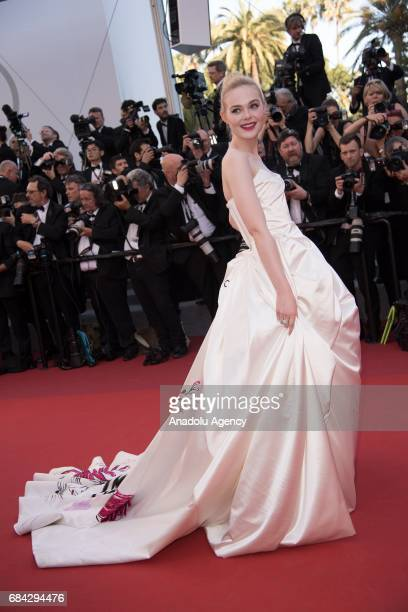 US actress Elle Fanning arrives for the screening of the film 'Les Fantomes dÕIsmael' out of competition and the Opening Ceremony of the 70th annual...