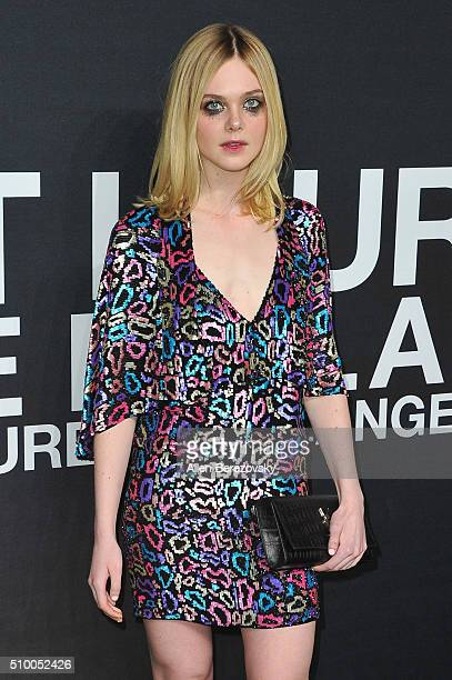 Actress Elle Fanning attends SAINT LAURENT At The Palladium at Hollywood Palladium on February 10 2016 in Los Angeles California