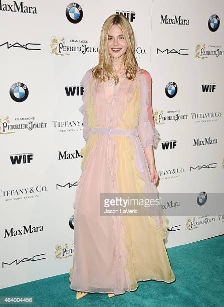 Actress Elle Fanning attends the 8th annual Women In Film preOscar cocktail party at HYDE Sunset Kitchen Cocktails on February 20 2015 in West...