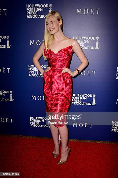Actress Elle Fanning attends the Hollywood Foreign Press Association's Grants Banquet at The Beverly Hilton Hotel on August 14 2014 in Beverly Hills...