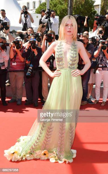 Actress Elle Fanning attends the 'How To Talk To Girls At Parties' screening during the 70th annual Cannes Film Festival at on May 21 2017 in Cannes...