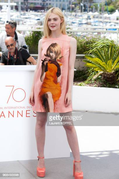Actress Elle Fanning attends the 'How To Talk To Girls At Parties' photocall during the 70th annual Cannes Film Festival on May 21 2017 in Cannes...