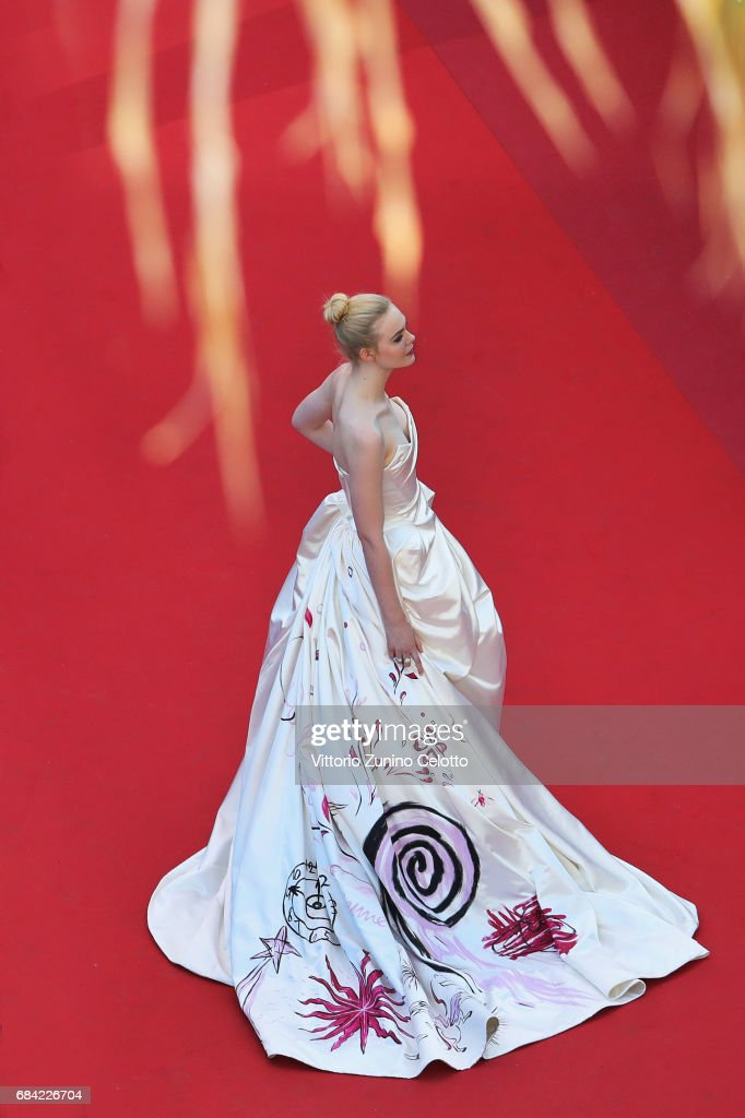 Actress Elle Fanning attends the 'Ismael's Ghosts (Les Fantomes d'Ismael)' screening and Opening Gala during the Opening Ceremony of the 70th annual Cannes Film Festival at Palais des Festivals on May 17, 2017 in Cannes, France.