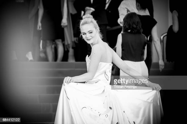 Actress Elle Fanning attends the 'Ismael's Ghosts ' screening and Opening Gala during the 70th annual Cannes Film Festival at Palais des Festivals on...
