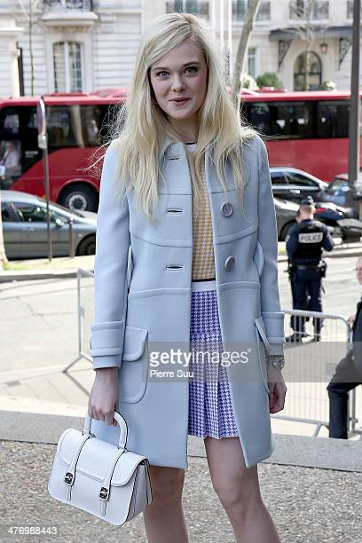 Actress Elle Fanning attends the Miu Miu show as part of the Paris Fashion Week Womenswear Fall/Winter 20142015 on March 5 2014 in Paris France on...