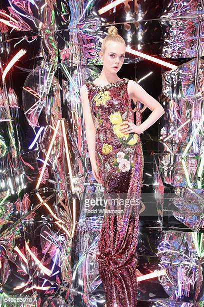 """Actress Elle Fanning attends """"The Neon Demon"""" Los Angeles Premiere @Cinespia on June 14, 2016 in Hollywood, California."""