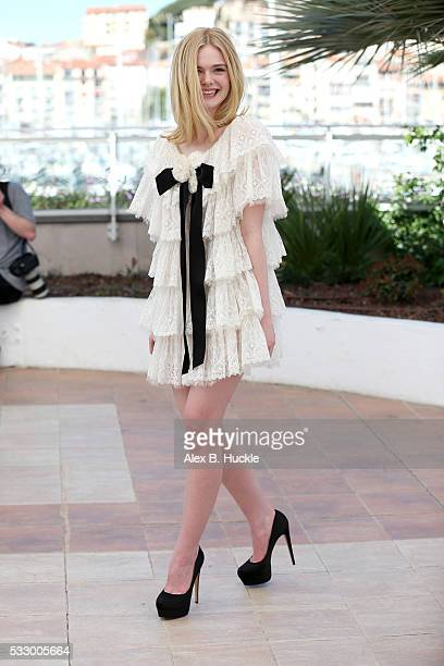 Actress Elle Fanning attends 'The Neon Demon' Photocall during the 69th annual Cannes Film Festival at the Palais des Festivals on May 20 2016 in...