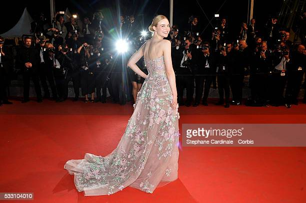 Actress Elle Fanning attends the Neon Demon premiere during the 69th annual Cannes Film Festival at the Palais des Festivals on May 20 2016 in Cannes...