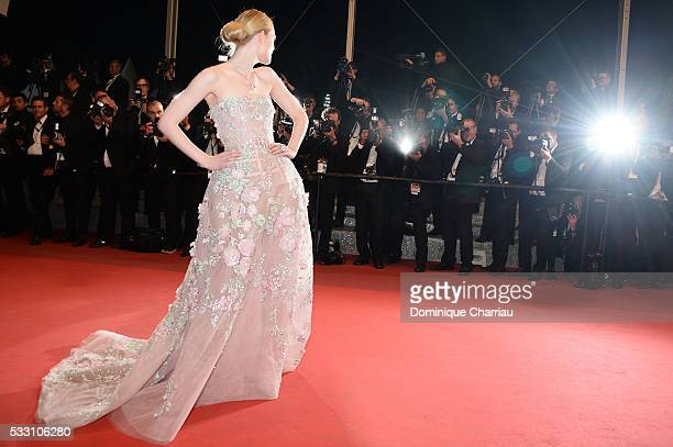 """Actress Elle Fanning attends the """"Neon Demon"""" premiere during the 69th annual Cannes Film Festival at the Palais des Festivals on May 20, 2016 in..."""