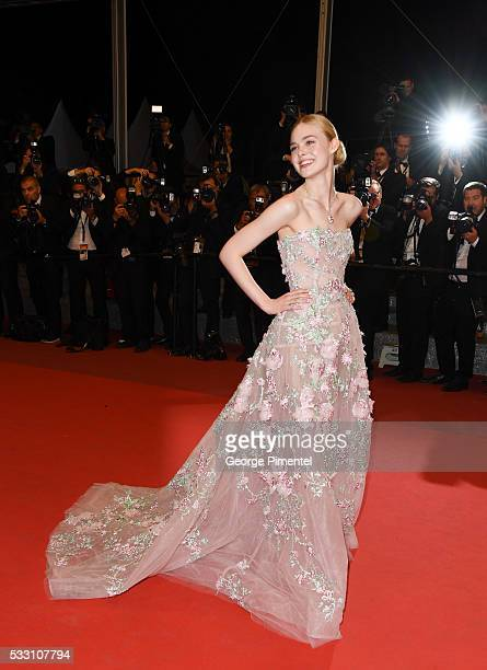 Actress Elle Fanning attends the 'Neon Demon' premiere during the 69th annual Cannes Film Festival at the Palais des Festivals on May 20, 2016 in...
