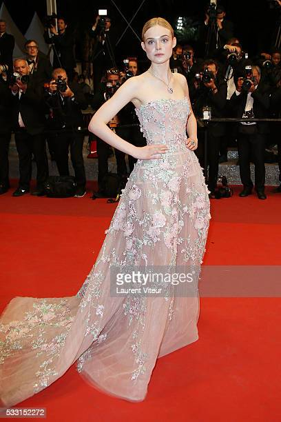 Actress Elle Fanning attends 'The Neon Demon' Premiere during the 69th annual Cannes Film Festival at the Palais des Festivals on May 20 2016 in...