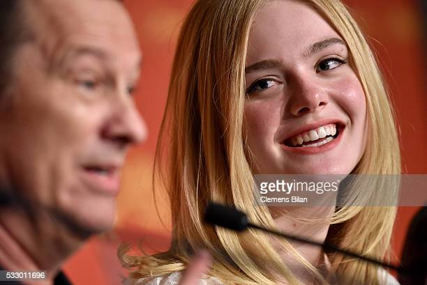 """Actress Elle Fanning attends """"The Neon Demon"""" Press Conference during the 69th annual Cannes Film Festival at the Palais des Festivals on May 20,..."""