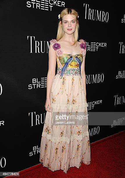 Actress Elle Fanning attends the premiere of 'Trumbo' at Samuel Goldwyn Theater on October 27 2015 in Beverly Hills California