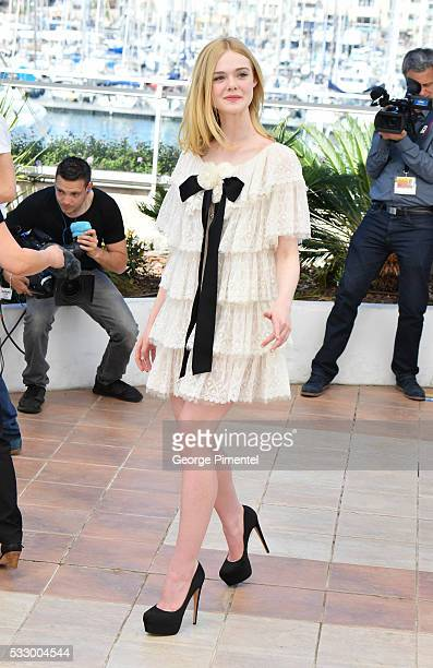 Actress Elle Fanning attends the 'The Neon Demon' Photocall during the 69th annual Cannes Film Festival at the Palais des Festivals on May 20 2016 in...