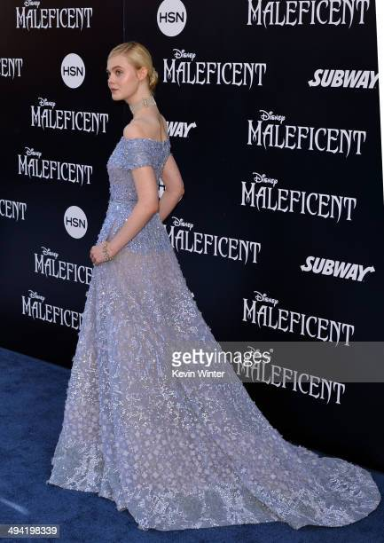 Actress Elle Fanning attends the World Premiere of Disney's 'Maleficent' at the El Capitan Theatre on May 28 2014 in Hollywood California