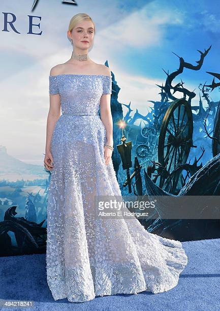 """Actress Elle Fanning attends the World Premiere of Disney's """"Maleficent"""", starring Angelina Jolie, at the El Capitan Theatre on May 28, 2014 in..."""
