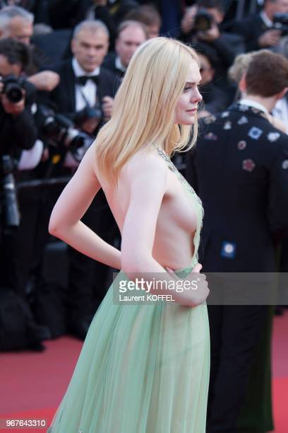 Actress Elle Fanning depart after the 'How To Talk To Girls At Parties' screening during the 70th annual Cannes Film Festival at on May 21 2017 in...