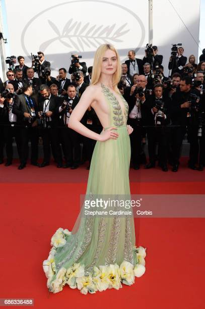 "Actress Elle Fanning departs after the ""How To Talk To Girls At Parties"" screening during the 70th annual Cannes Film Festival at Palais des..."