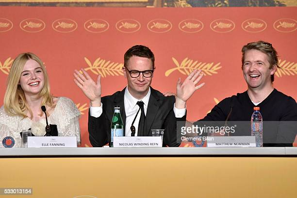 """Actress Elle Fanning, director Nicolas Winding Refn and composer Matthew Newman attend """"The Neon Demon"""" Press Conference during the 69th annual..."""