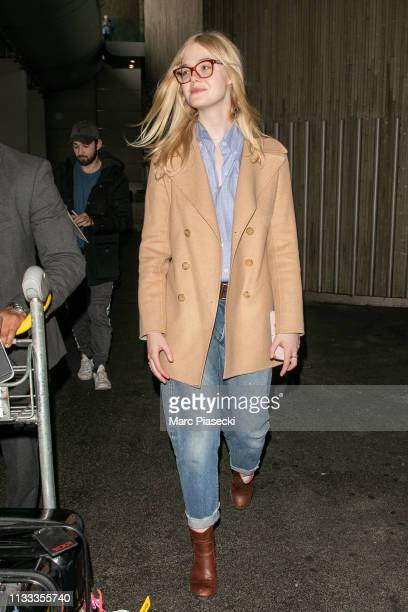 Actress Elle Fanning is seen arriving at Airport Roissy Charles de Gaulle on March 03 2019 in Paris France