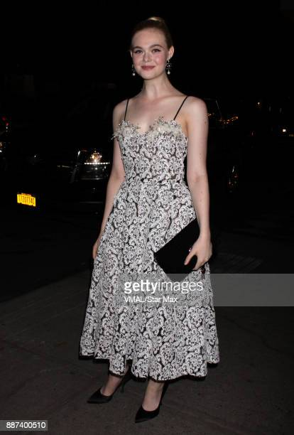 Actress Elle Fanning is seen on December 6 2017 in New York City