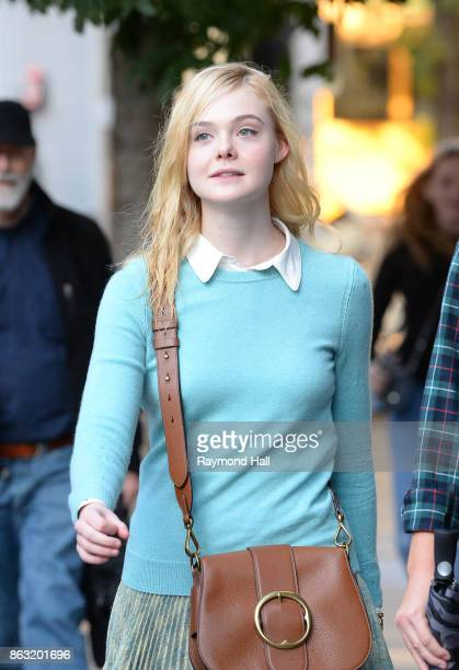 Actress Elle Fanning is seen on location for Woody Allen's untitled movieon October 19 2017 in New York City