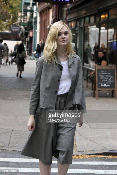 Actress Elle Fanning is seen on October 19 2017 on the set of Woody Allen's untitled film in New York City