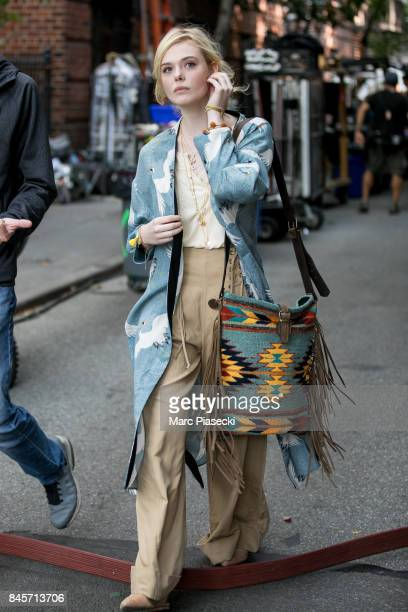 Actress Elle Fanning is seen on the set of the new Woody Allen movie on September 11 2017 in New York City