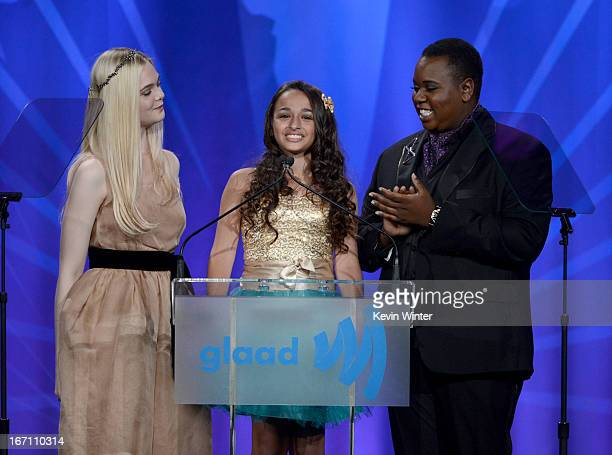 Actress Elle Fanning Jazz Jennings and Alex Newell speak onstage during the 24th Annual GLAAD Media Awards at JW Marriott Los Angeles at LA LIVE on...