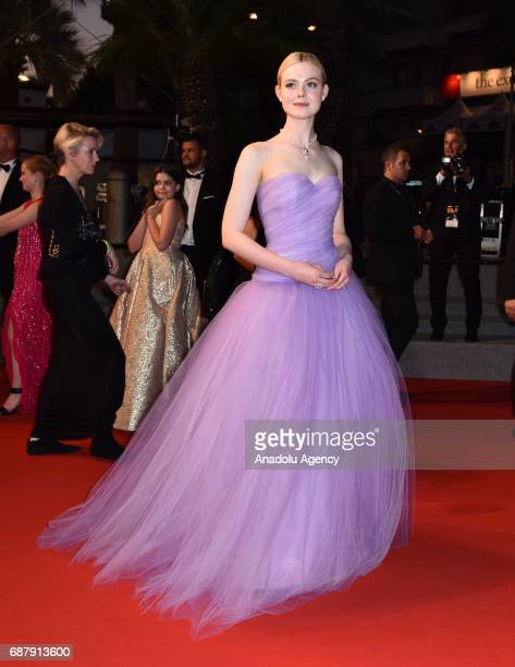 US actress Elle Fanning leaves after the premiere of the film The Beguiled in competition at the 70th annual Cannes Film Festival in Cannes France on...