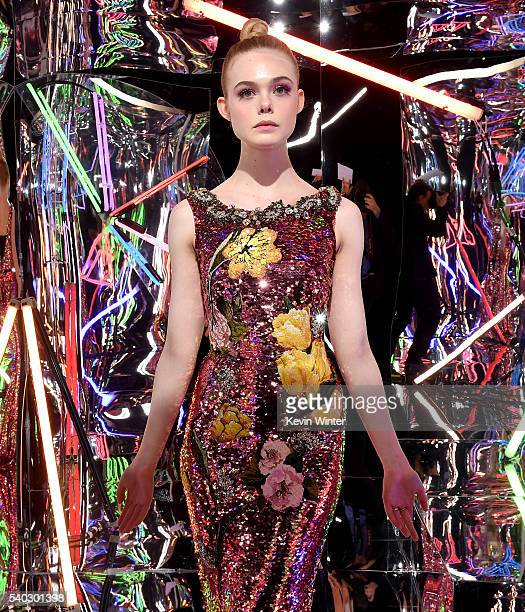 Actress Elle Fanning poses at the after party for the premiere of Amazon's 'The Neon Demon' at the Hollywood Forever Cemetery on June 14 2016 in Los...