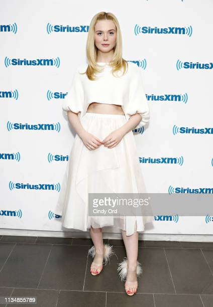 Actress Elle Fanning visits the SiriusXM Studios on April 4, 2019 in New York City.