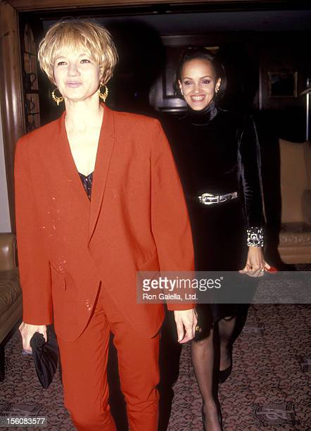 Actress Ellen Barkin and Caridad Rivera attend the 'Bugsy' New York City Premiere on December 10 1991 at Museum of Modern Art in New York City New...