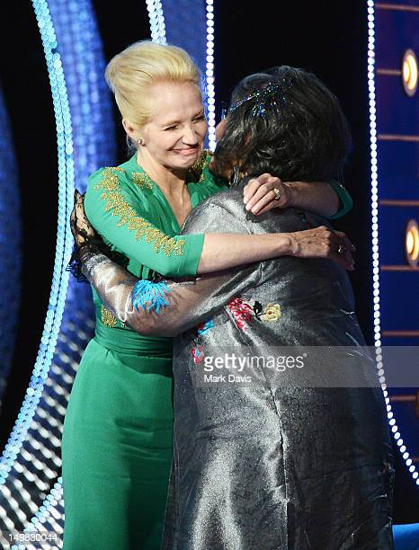 Actress Ellen Barkin and Roastee Roseanne Barr speak onstage at the Comedy Central Roast of Roseanne Barr at Hollywood Palladium on August 4, 2012 in...