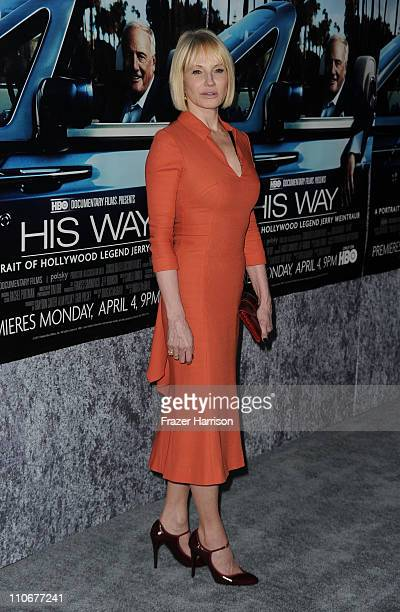 "Actress Ellen Barkin arrives at the premiere of the HBO documentary ""His Way"" at Paramount Studios on March 22, 2011 in Hollywood, California."