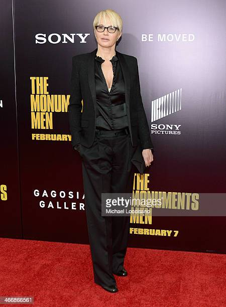 Actress Ellen Barkin attends 'The Monuments Men' premiere at Ziegfeld Theater on February 4 2014 in New York City New York