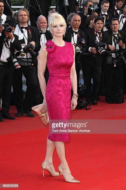 Actress Ellen Barkin attends the Premiere of 'Wall Street: Money Never Sleeps' held at the Palais des Festivals during the 63rd Annual International...