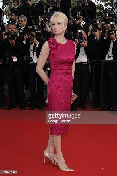 Actress Ellen Barkin attends the Premiere of 'Wall Street Money Never Sleeps' held at the Palais des Festivals during the 63rd Annual International...