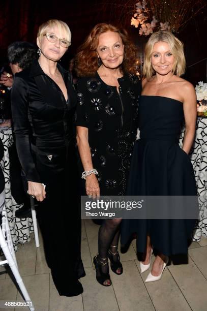 Actress Ellen Barkin, fashion designer Diane Von Furstenberg and TV personality Kelly Ripa attend the Great American Songbook event honoring Bryan...