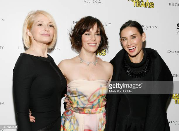 Actress Ellen Barkin Parker Posey Demi Moore attend The Cinema Society Donna Karan screening of Happy Tears at The Museum of Modern Art on February...