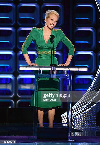 Actress Ellen Barkin speaks onstage at the Comedy Central Roast of Roseanne Barr at Hollywood Palladium on August 4 2012 in Hollywood California
