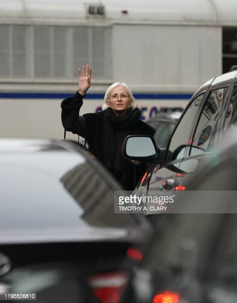 Actress Ellen Barkin waits for a car after leaving court where she listened in on Harvey Weinstein at Manhattan Supreme Court January 23 after the...