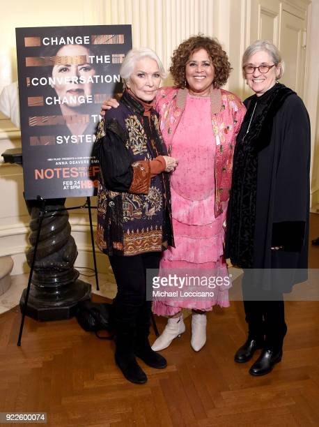 Actress Ellen Burstyn actress playwright and executive producer Anna Deavere Smith and director Kristi Zea attend the cocktail reception and after...
