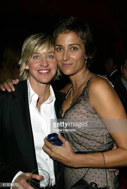 Actress Ellen DeGeneres and partner Alexandra Hedison pose at the HBO post Emmy party following the 56th annual Primetime Emmy Awards held at the...