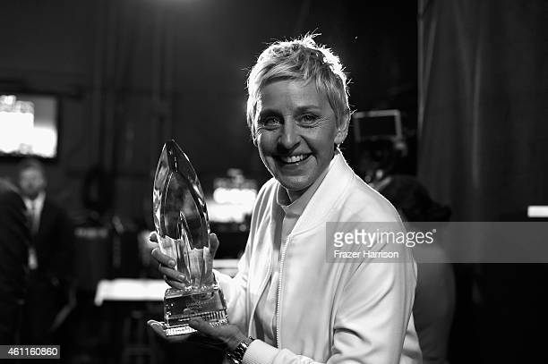 Actress Ellen DeGeneres backstage during The 41st Annual People's Choice Awards at Nokia Theatre LA Live on January 7 2015 in Los Angeles California