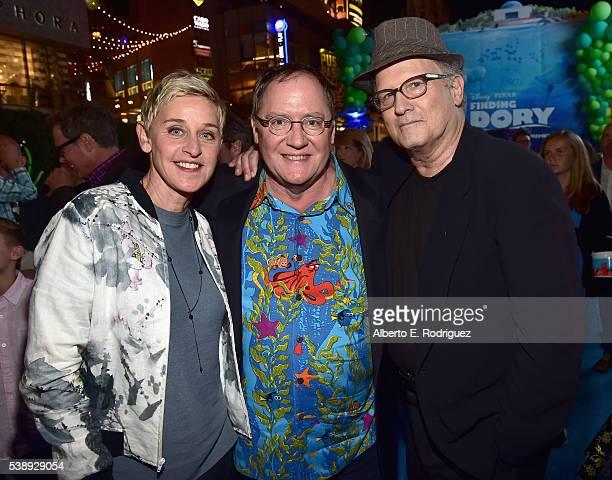 Actress Ellen DeGeneres Executive producer John Lasseter and actor Albert Brooks attend The World Premiere of DisneyPixar's FINDING DORY on Wednesday...